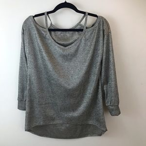 ZY Silver Metallic cold shoulder Tunic